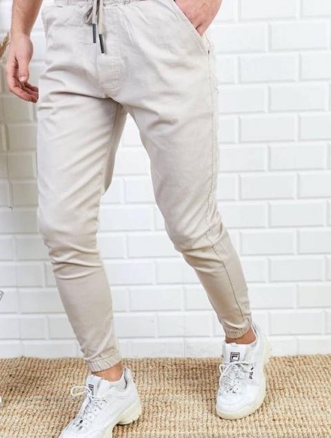 Παντελόνι Ανδρικό Jogger Μπέζ / Άσπρο