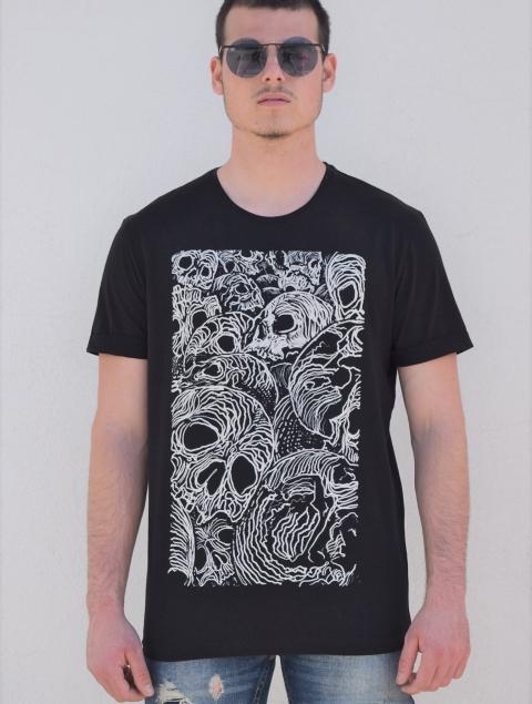 Ανδρικό T-Shirt Με Τύπωμα Καμβά Νεκροκεφαλές