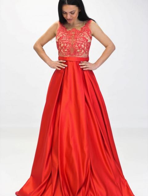 Εντυπωσιακό Μακρύ Φόρεμα Κοραλί Τ200