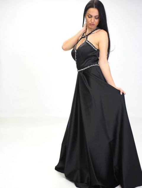 Μακρύ Μαύρο Φόρεμα Με Πέτρες Τ220