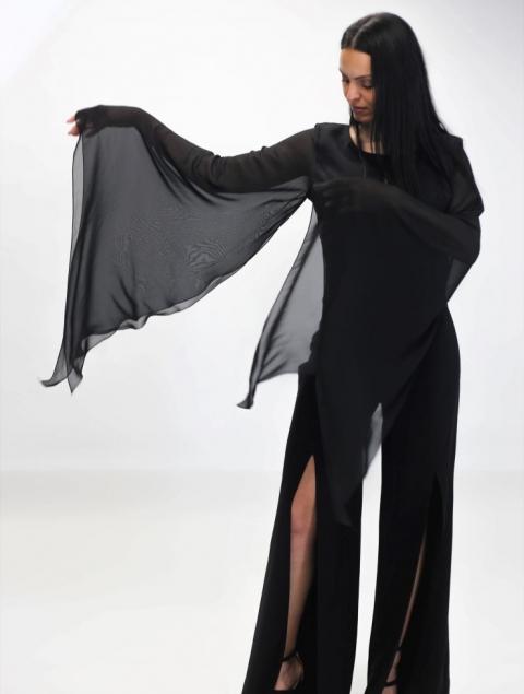 Ολόσωμη Μαύρη Φόρμα Με Άνοιγμα Μπροστά Παντελόνι Τ221