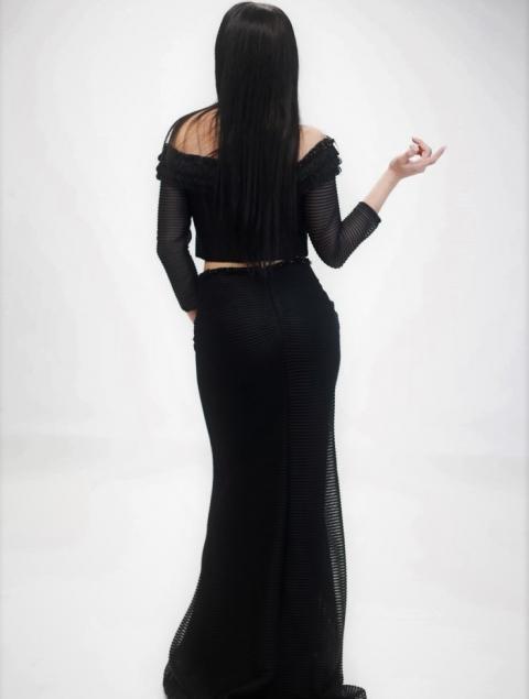 Μαύρο Σετ Τοπ & Μακρυά Φούστα Τ301