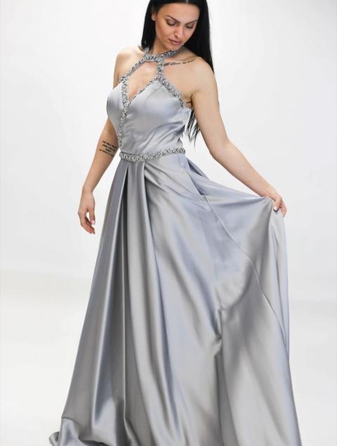 Ασημί Μακρύ Φόρεμα Με Πέτρες Τ220Β