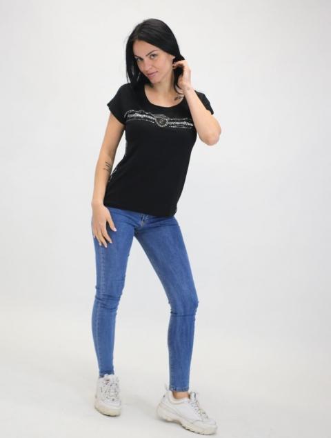 Γυναικεία Μπλούζα DC Με στράς Στο Στήθος & Στα Πλα'ι'να