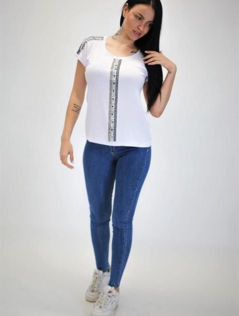 Γυναικεία Μπλούζα Με Στράς Στον Ώμο & Μπροστά