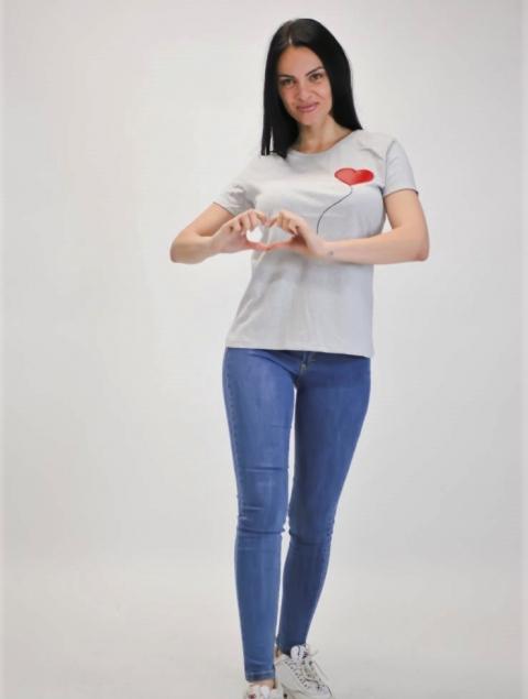 Γυναικεία Μπλούζα Κόκκινη Καρδία Ραμμένη