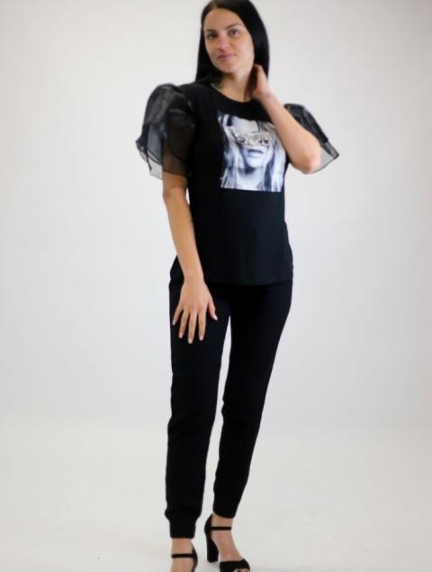 Γυναικεία Μπλούζα Μαύρη Με Οργάντζα Μανίκι