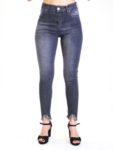 Ψηλόμεσο Ελαστικό Τζίν Παντελόνι Με Κρόσια