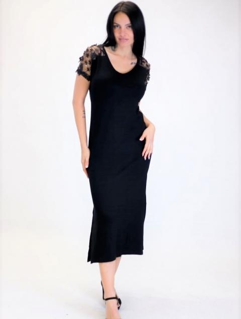 Γυναικείο Φόρεμα Μαύρο Διαφάνεια Στον Ώμο & Λουλούδια