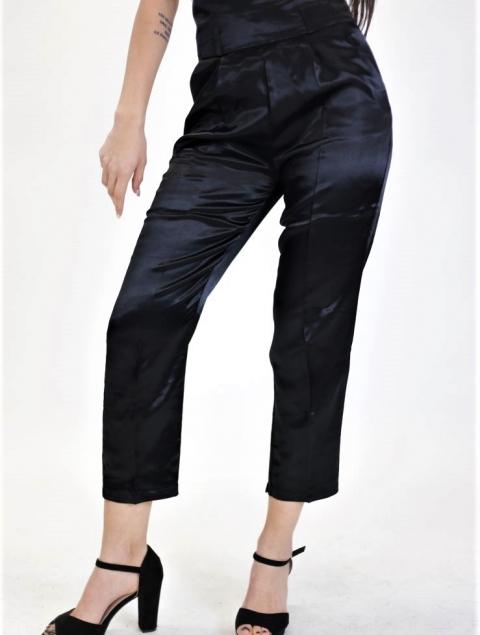 Ψηλόμεση Παντελόνα Μαύρη Σατέν Με Μπάσκα