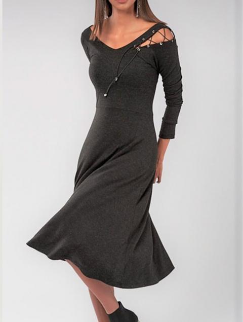 Γυναικείο φόρεμα A-line γραμμή γκρι
