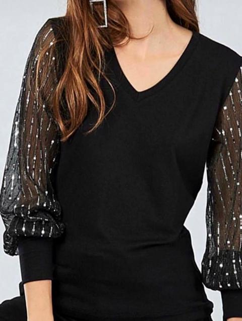 Μπλούζα μαύρη - διαφάνεια ασήμι