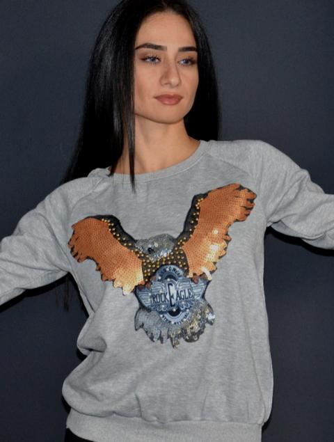Γυναικεία μπλούζα φούτερ γκρι αετός
