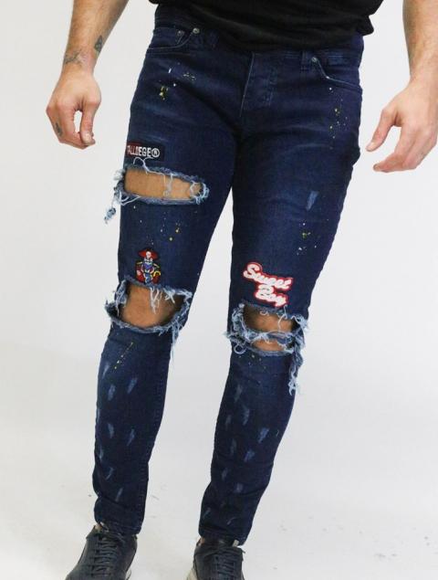 Ανδρικό jean patches με σκισίματα