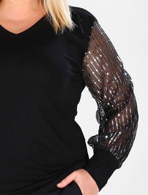 Μπλούζα μαύρη plus size διαφάνεια στο μανίκι