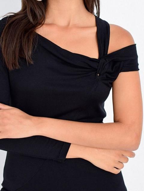 Γυναικεία μπλούζα μαύρη - ένα μανίκι