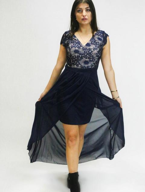 Γυναικείο φόρεμα μπλε ασσύμετρο