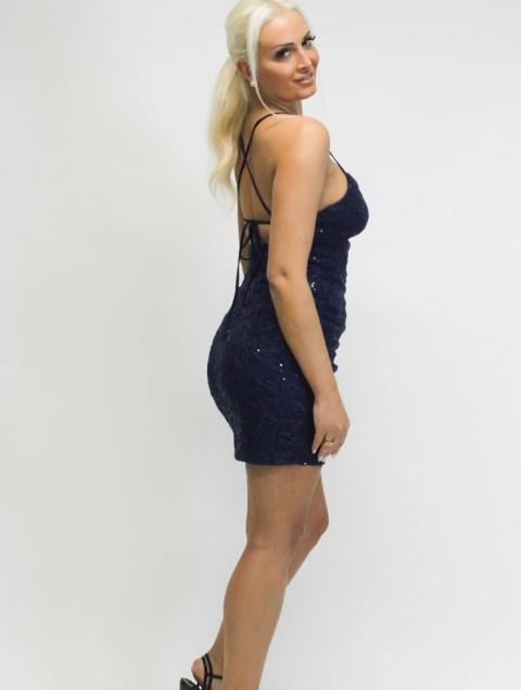 Κοντό φόρεμα μπλε δαντέλα