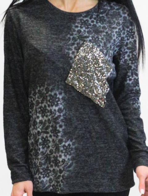 Γυναικεία μπλούζα Plus Size πλεκτή τσέπη Strass