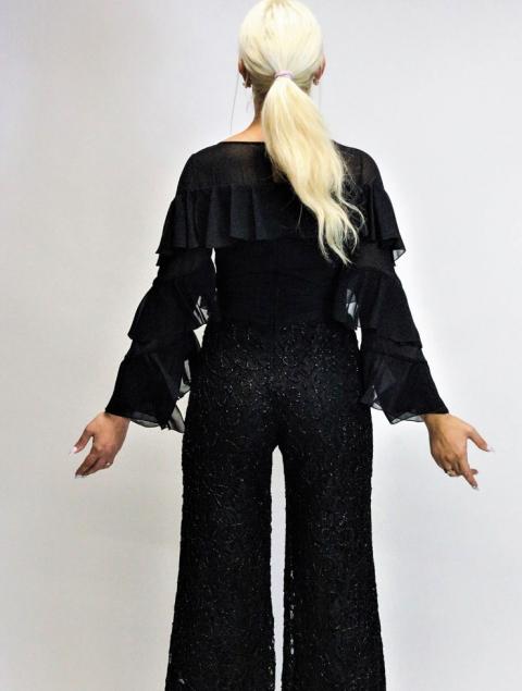 Ολόσωμη φόρμα μαύρη - δαντέλα