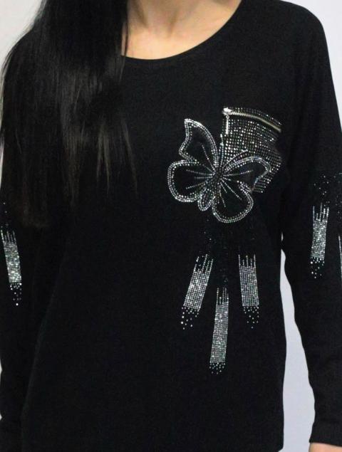 Μπλούζα Plus Size μαύρη πεταλούδα