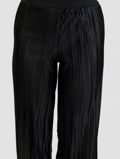 Σατεν μαύρη παντελόνα πιέτες