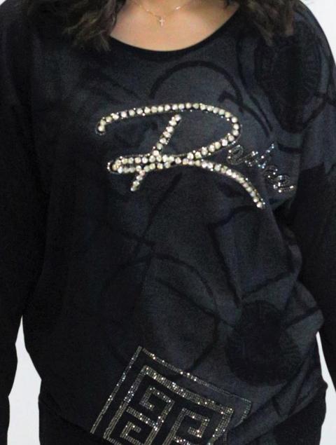 Plus Size μπλούζα γκρί-μαύρο