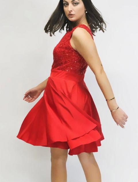 Φόρεμα κόκκινο σατέν παγιέτα