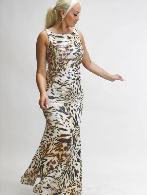 Γυναικείο φόρεμα γοργονέ τιγρέ ελαστική παγιέτα