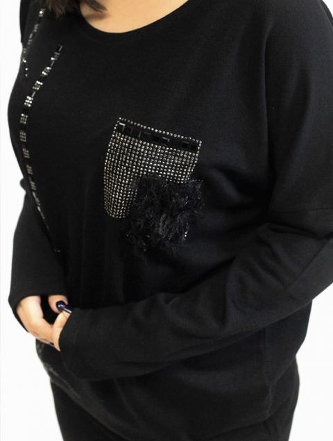 Μπλούζα Plus Size μαύρη τσέπη strass