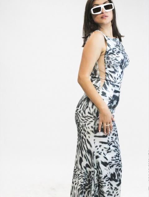 Γυναικείο φόρεμα γοργονέ τιγρέ παγιέτα